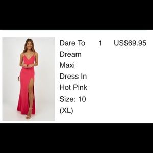 Long pink dress. Thigh High slit.
